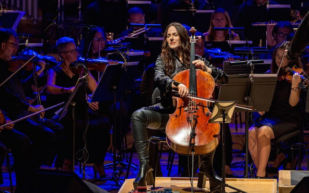 Maya Beiser performing an orchestral version of David Bowie's 'Blackstar' album at the L'Auditori in Barcelona, Spain, July 13, 2017. (Robert Marquardt/Redferns/via JTA)