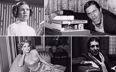 Clockwise, from top left: Carrie Fisher, Jerry Lewis, Leonard Cohen and Zsa Zsa Gabor. (Getty Images/via JTA)