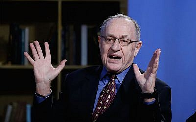 Alan Dershowitz at NEP Studios in New York, February 3, 2016. (John Lamparski/Getty Images for Hulu, via JTA)