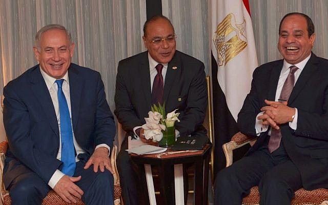 Prime Minister Benjamin Netanyahu meets with Egyptian President Abdel Fattah el-Sissi in New York on September 19, 2017. (Avi Ohayun)