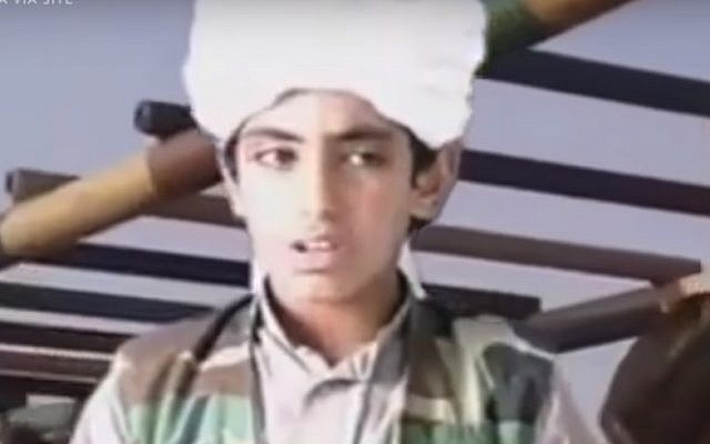 "Hamza bin Laden in undated footage delivering a speech entitled ""We Are All Osama,"" which was posted to a militant website. (YouTube screenshot)"