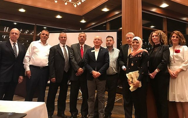 Founders of the Palestinian Students Scholarship Fund with Ron Robin, Professor Mouna Maroun, Sheren Falah and Dima Ghazali, previous scholarship recipients. (Courtesy)
