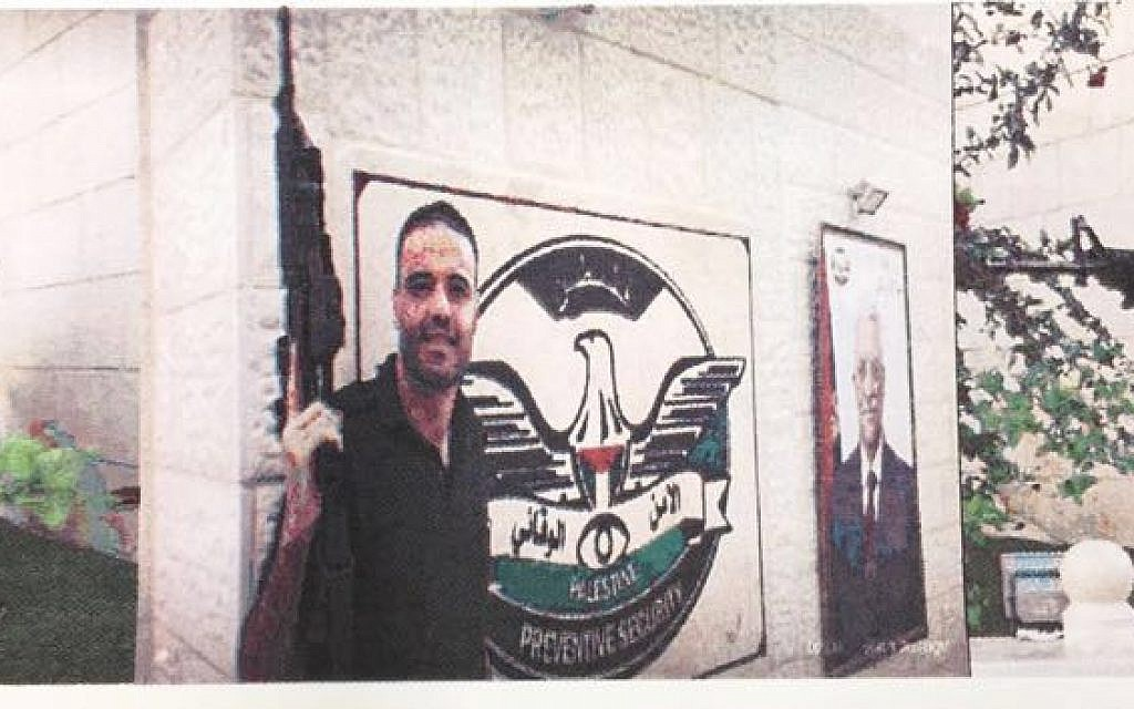 Muhammad al-Sawiti, a member of the Palestinian security services in Jenin arrested for incitement in August 2017 (Shin Bet)