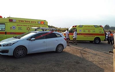 Ambulances in northern Israel near the Jordan River at a spot where two teens nearly drowned and were rescued by paramedics and civilians who were on site, on Friday, September 15, 2017. (MDA spokesperson)