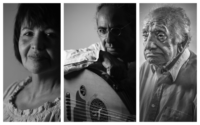 Left to right: Linda Munuhin, Yair Dalal, (credit: David Blumenfeld) and Yehezkel Kojaman (credit: Liam Sharp), photos taken for the Iraqi Jewish Voices Project.