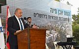 Defense Minister Avigdor Liberman speaks at a cornerstone laying ceremony for a new IDF campus in Jerusalem on September 18, 2017. (Ariel Hermoni/Defense Ministry)