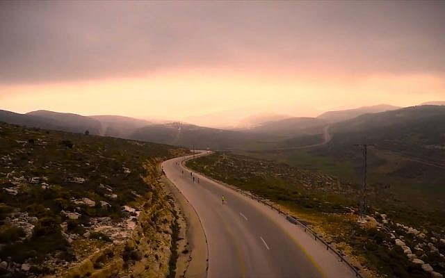 Part of the route of the Bible Marathon, from Rosh Ha'ayin to Shiloh. (Screen capture: YouTube)