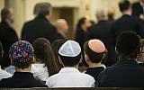 Illustrative: Children sitting at the Park East Synagogue, a Modern Orthodox congregation in New York City, March 3, 2017. (Drew Angerer/Getty Images, via JTA)