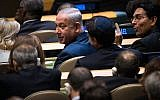 Prime Minister of Israel Benjamin Netanyahu takes his seat before US President Donald Trump was to speak at the United Nations General Assembly at UN headquarters, September 19, 2017 in New York City. (Drew Angerer/Getty Images via JTA)