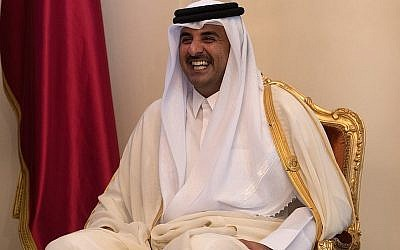 Sheikh Tamim bin Hamad Al Thani, the Emir of Qatar, Manama, Bahrain. (Carl Court - Pool/Getty Images via JTA)