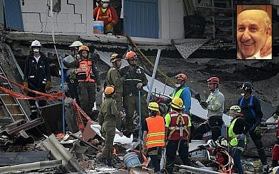 Israeli rescue workers look for survivors in Mexico City on September 23, 2017, four days after the powerful quake that hit central Mexico; inset: Rabbi Haim (Jaime) Ashkenazi (AFP Photo, Facebook)