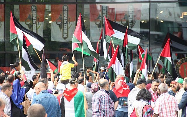 Hundreds demonstrate in a protest outside the Rotterdam Centraal Train Station on July 22, 2017, against the latest Israeli restrictions on Palestinians entry to Al-Aqsa mosque (Abdullah Asiran/Anadolu Agency/Getty Images via JTA)