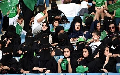 Illustrative image of Saudi women sitting in a stadium in the capital Riyadh for an event commemorating the anniversary of the founding of the kingdom, September 23, 2017. (AFP PHOTO/Fayez Nureldine)