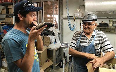Dror Yoggev blowing a shofar while Shimon Keinan watches at his Kol Shofar factory in Givat Yoav, Golan Heights, Sept. 6, 2017. (Andrew Tobin)