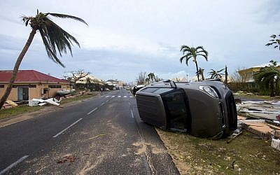 Some of the wreckage wrought by Hurricane Irma on the Caribbean island of Saint Martin, Sept. 6, 2017. (Lionel Chamoiseau/AFP/Getty Images via JTA)