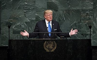 US President Donald Trump addresses the United Nations General Assembly at UN headquarters, September 19, 2017 in New York City. (Drew Angerer/Getty Images/AFP)