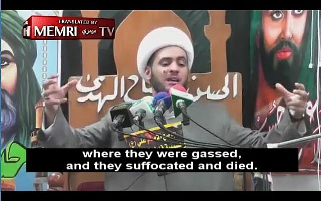 Iraqi cleric Sheikh Salam Al-Askari gives a sermon on August 28, 2017 praising Jews. (Screenshot/MEMRI)