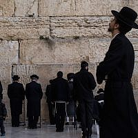 Haredi Orthodox men praying at the Western Wall in Jerusalem, January 12, 2017. (Chris McGrath/Getty Images/via JTA)