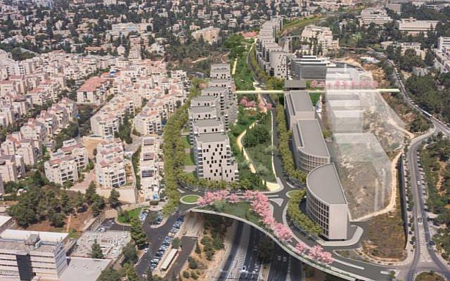 Illustration of planned development to be built above Jerusalem's Begin Highway. (Dagan Advanced Visual Solutions)