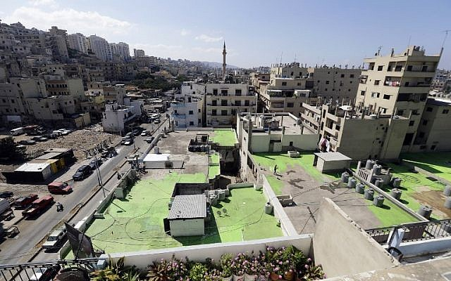 Lebanese painters take part in a project that aims to draw the word Peace in Arabic across 85 rooftops, in Tripoli's Syria street which separates the Sunni neighborhood of Bab al-Tabbaneh from the Alawite neighborhood of Jabal Mohsen, in Tripoli on September 28, 2017. (AFP / Joseph EID)