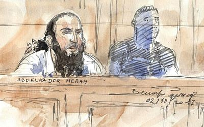 A courtroom sketch from October 2, 2017, shows Abdelkader Merah in a Paris courthouse during his trial for his complicity in the series of shootings committed by his terrorist brother Mohamed in Toulouse and Montauban in 2012. (AFP Photo/Benoit Peyruco)
