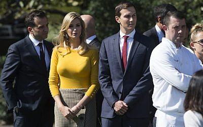 Ivanka Trump, the daughter of US President Donald Trump, and her husband, Senior White House Adviser Jared Kushner, are seen on the South Lawn of the White House on October 2, 2017. (AFP Photo/Saul Loeb)
