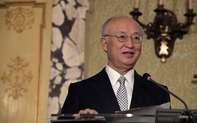 International Atomic Energy Agency (IAEA) director general Yukiya Amano delivers a speech during a meeting at Accademia dei Lincei in Rome on October 9, 2017. (AFP PHOTO / TIZIANA FABI)
