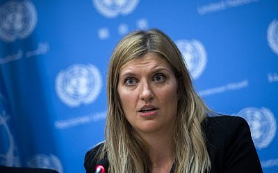 Nuclear disarmament group International Campaign to Abolish Nuclear Weapons (ICAN) executive director Beatrice Fihn answers a question during a press conference at the United Nations headquarters in New York on October 9, 2017. (AFP Photo/Jewel Samad)