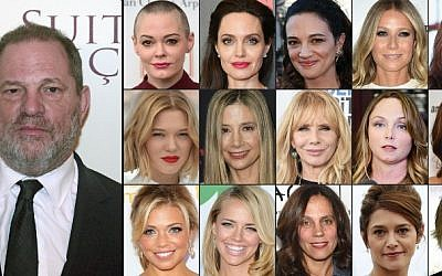 This combination of pictures shows US producer Harvey Weinstein and (1st row from L) US actress Rose McGowan, US actress Angelina Jolie, Italian actress Asia Argento, US actress Gwyneth Paltrow, US actress Ashley Judd; (2nd row fromL) French actress Lea Seydoux, US actress Mira Sorvino, US actress Rosanna Arquette, US actress Louisette Geiss, British actress Kate Beckinsale; (3rd row fromL) Television reporter Lauren Sivan, US actress Jessica Barth, US producer Elizabeth Karlsen, French actress Emma De Caunes, and French actress Judith Godreche (AFP PHOTO / GETTY IMAGES NORTH AMERICA AND AFP PHOTO / STAFF)