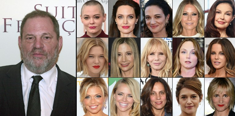 This Combination Of Pictures Shows Us Producer Harvey Weinstein And 1st Row From L