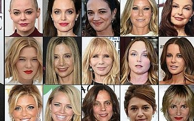 This combination of pictures created on October 13, 2017 shows (1st row from L) US actress Rose McGowan taken on April 3, 2016, US actress Angelina Jolie taken on September 13, 2017 in New York City, Italian actress Asia Argento taken on May 17, 2017, US actress Gwyneth Paltrow taken on May 6, 2017, US actress Ashley Judd taken on July 25, 2017, (2nd row fromL) French actress Lea Seydoux taken on May 19, 2016, US actress Mira Sorvino taken on December 7, 2015, US actress Rosanna Arquette taken on February 25, 2017, US actress Louisette Geiss taken on October 10, 2017, British actress Kate Beckinsale taken on on August 7, 2017, (3rd row fromL) Television reporter Lauren Sivan taken on July 26, 2014, US actress Jessica Barth taken  on June 21, 2012, US producer Elizabeth Karlsen taken on January 4, 2016, French actress Emma De Caunes taken on October 17, 2016, and French actress Judith Godreche taken on October 19, 2015. ( AFP PHOTO / GETTY IMAGES NORTH AMERICA AND AFP PHOTO / STAFF)