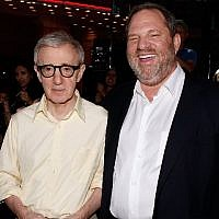 "Director Woody Allen (L) and producer Harvey Weinstein at the Los Angeles Premiere of ""Vicky Cristina Barcelona"" at the Mann Village Theatre in Westwood, California, on August 4, 2008. (AFP Photo/Getty Images North America/Kevin Winter)"