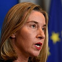 High Representative of the Union for Foreign Affairs and Security Policy Federica Mogherini gives a press conference following a EU Foreign Affairs meeting in Luxembourg on October 16, 2017.  (AFP PHOTO / JOHN THYS)