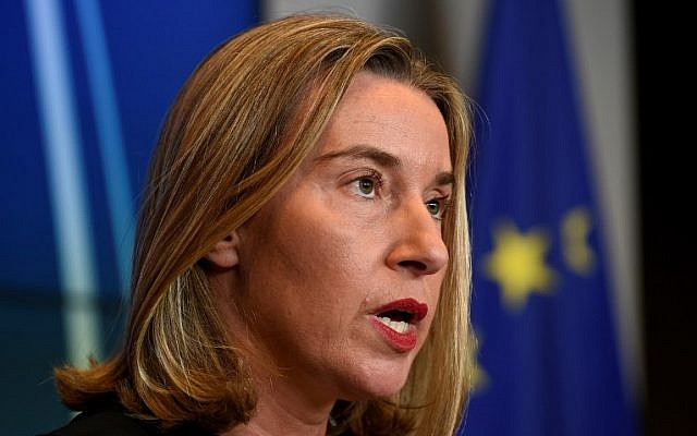 High Representative of the Union for Foreign Affairs and Security Policy Federica Mogherini gives a press conference following an EU Foreign Affairs meeting in Luxembourg on October 16, 2017.  (AFP PHOTO / JOHN THYS)