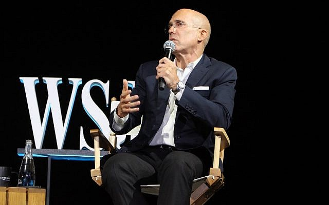 Film producer Jeffrey Katzenberg speaks at The Wall Street Journal's three-day D.Live technology conference in Laguna Beach, California, October 16, 2017. (AFP/Glenn CHAPMAN)