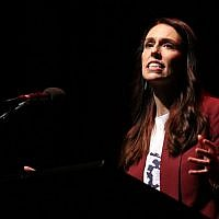 This file photo taken on September 17, 2017 shows leader of the Labour Party Jacinda Ardern speaking at a Labour Party rally in Hamilton. (AFP PHOTO / MICHAEL BRADLEY)