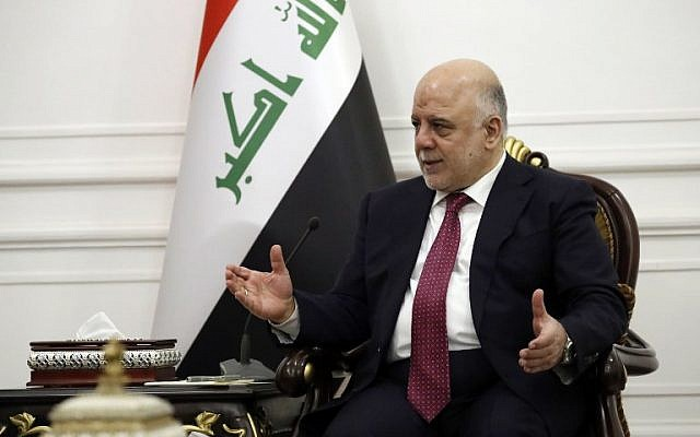 Iraq's Prime Minister Haider al-Abadi in Baghdad, Iraq, October 23, 2017. (AFP/Alex Brandon)