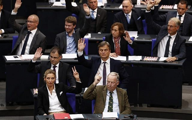 German leaders of the parliamentary group of the Alternative for Germany (AfD) far-right party Alexander Gauland (bottom-R) and Alice Weidel (bottom-L) and MPs vote to adopt functioning rules during the first session of the newly elected parliament on October 24, 2017 at the Bundestag in Berlin. (AFP/Odd Andersen)