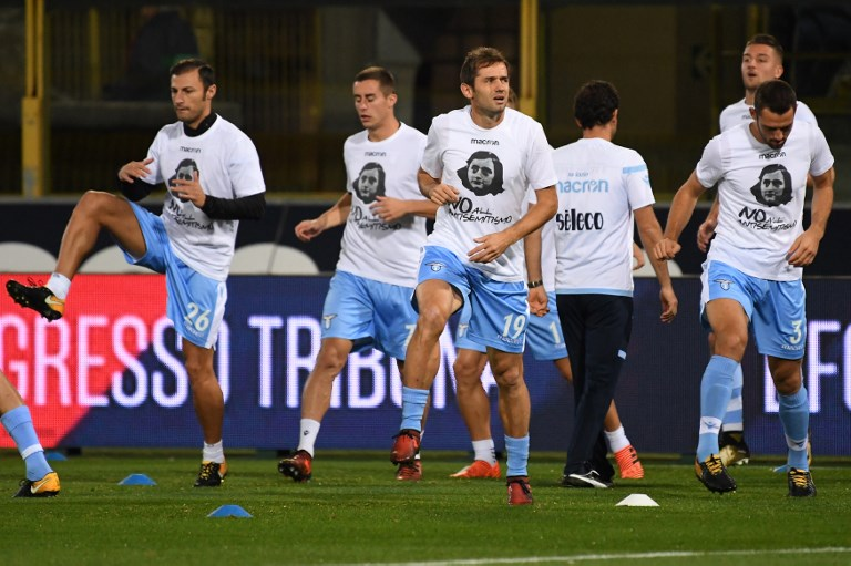 Lazio fans blasted for stickers of Anne Frank in Roma jersey