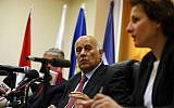 Chairman of the Palestinian football (soccer) association Jibril Rajoub speaks during a press conference in the West Bank city of Al-Ram between Jerusalem and Ramallah on October 29, 2017.  (ABBAS MOMANI / AFP)