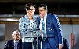 Cheryl Saban and Haim Saban attend the Academy Museum of Motion Pictures press briefing and site tour at Academy Museum of Motion Pictures on September 27, 2017 in Los Angeles, California.  (Matt Winkelmeyer/Getty Images/AFP)