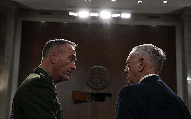 US Secretary of Defense Jim Mattis, right, and Chairman of the Joint Chiefs of Staff General Joseph Dunford wait for the beginning of a hearing before Senate Armed Services Committee October 3, 2017 on Capitol Hill in Washington, DC. (Alex Wong/Getty Images/AFP)