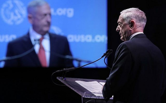 US Defense Secretary James Mattis delivers the keynote address during the Association of the United States Army's annual meeting and exposition at the Washington Convention Center, on October 9, 2017, in Washington, DC. (Chip Somodevilla/Getty Images/AFP)