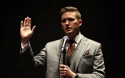 White nationalist Richard Spencer speaks during a press conference at the Curtis M. Phillips Center for the Performing Arts on October 19, 2017, in Gainesville, Florida. (Joe Raedle/Getty Images/AFP)
