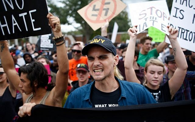 Demonstrators gather at the site of a planned speech by white nationalist Richard Spencer at the University of Florida campus on October 19, 2017 in Gainesville, Florida. (Brian Blanco/Getty Images/AFP)
