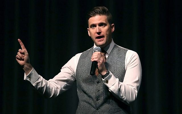 White nationalist Richard Spencer speaks at the Curtis M. Phillips Center for the Performing Arts on October 19, 2017, in Gainesville, Florida. (Joe Raedle/Getty Images/AFP)