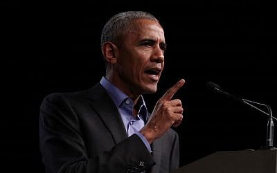 Former US president Barack Obama speaks as he campaigns for Democratic gubernatorial candidate and Virginia Lieutenant Governor Ralph Northam during a campaign event at the Greater Richmond Convention Center October 19, 2017 in Richmond, Virginia. (Alex Wong/Getty Images/AFP)