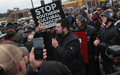 Matthew Heimbach of the Traditionalist Workers Party speaks to participants at a white nationalist's rally on October 28, 2017, in Shelbyville, Tennessee. (Scott Olson/Getty Images/AFP)