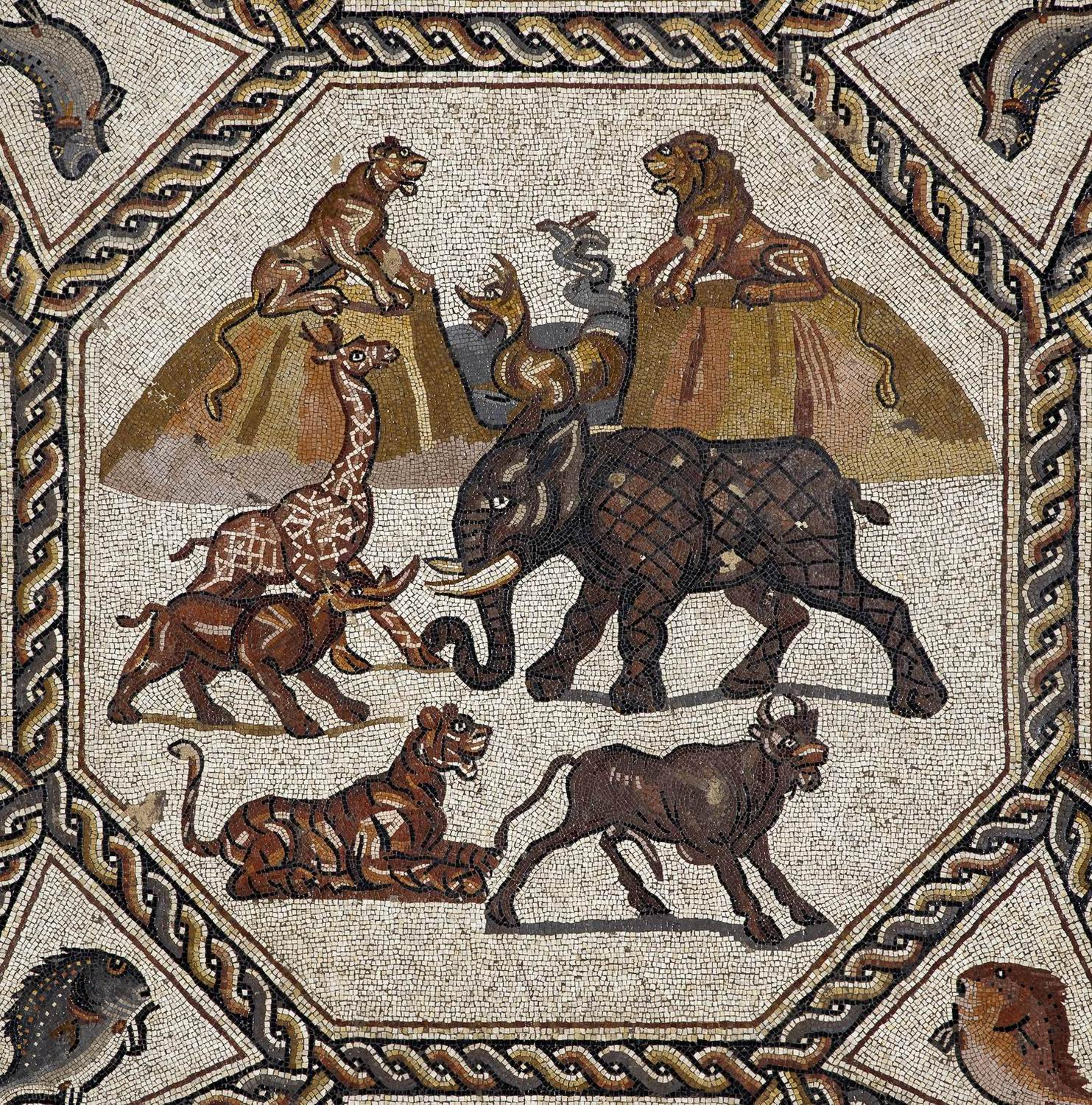 Breathtaking 1 700 year old lod mosaic to finally have a for Ancient roman cuisine history