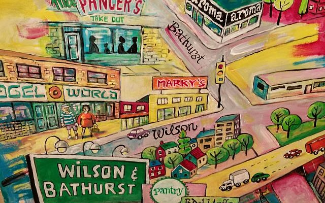 One of a six-panel series depicting different parts of Toronto where Jews lived and frequented Jewish restaurants over the years, painted for the exhibition by Toronto artist Ian Leventhal. (Courtesy)